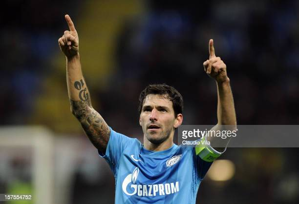 Danny of Zenit St Petersburg celebrates scoring the first goal during the UEFA Champions League group C match between AC Milan and Zenit St...