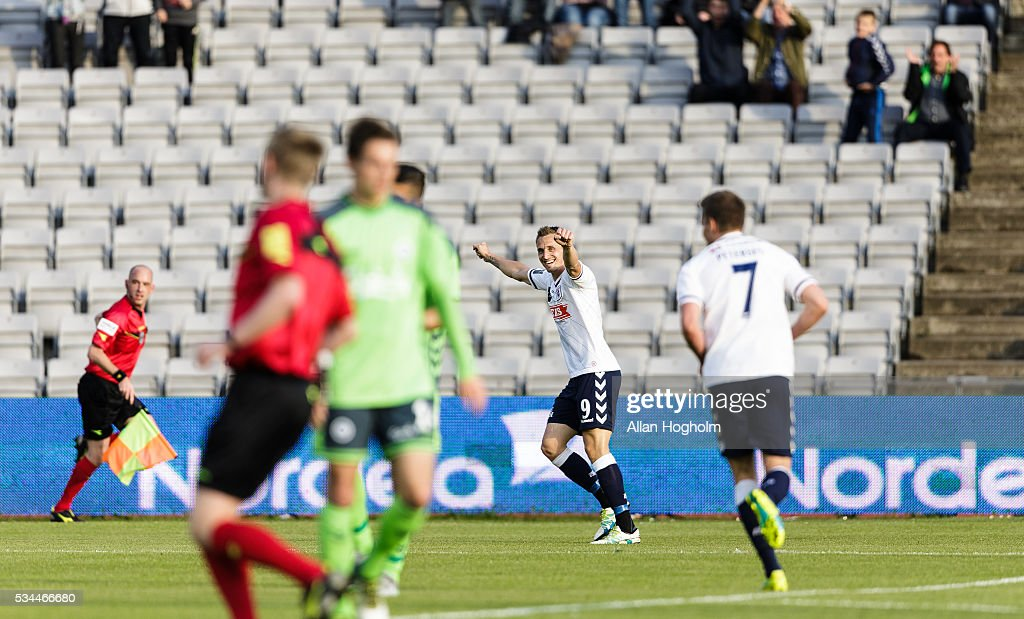 Danny Olsen of AGF celebrates after scoring their first goal during the Danish Alka Superliga match between AGF Aarhus and OB Odense at Ceres Park on May 26, 2016 in Aarhus, Denmark.