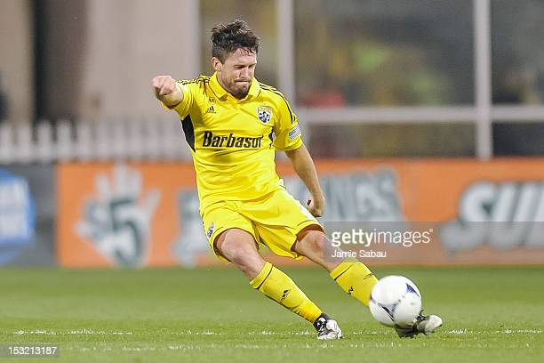 Danny O'Rourke of the Columbus Crew controls the ball against the Philadelphia Union on September 29 2012 at Crew Stadium in Columbus Ohio