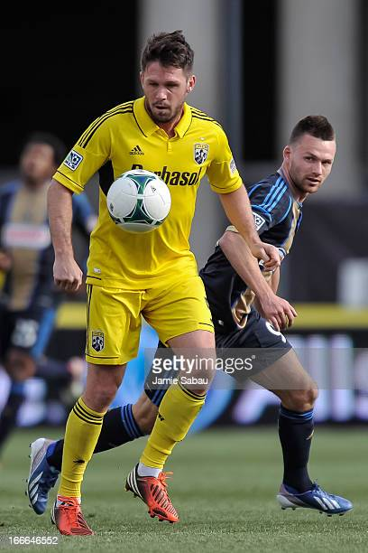 Danny O'Rourke of the Columbus Crew controls the ball against the Philadelphia Union on April 6 2013 at Crew Stadium in Columbus Ohio