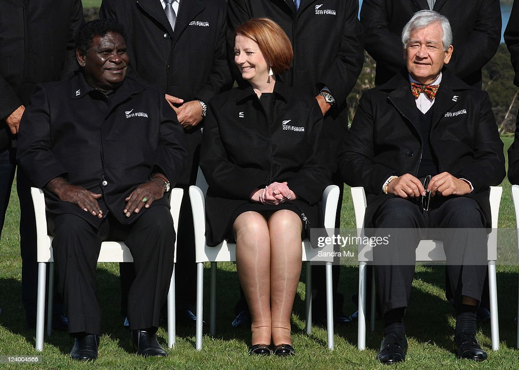 Danny Philip Prime Minister of Solomon Islands and <a gi-track='captionPersonalityLinkClicked' href=/galleries/search?phrase=Julia+Gillard&family=editorial&specificpeople=787281 ng-click='$event.stopPropagation()'>Julia Gillard</a> Prime Minister of Australia chat as Tuiloma Neroni Slade Secretary General (R) looks on before the official photo at Cable Bay on September 8, 2011 in Auckland, New Zealand. The annual gathering of leaders of the pacific nations has attracted heavyweight list of guests this year including United Nations Secretary General Ban Ki-moon, European Commission President Jose Manuel Barroso, the French Foreign Minister and the US Deputy Secretary of State. The forum conclusion coincides with the Opening Ceremony of the Rugby World Cup.