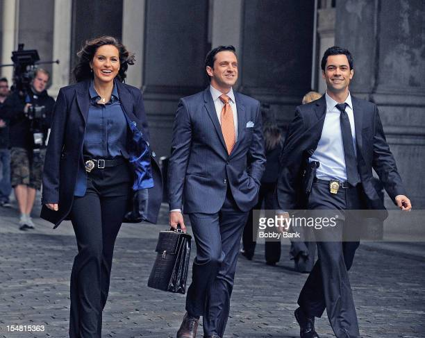 Danny Pino Raul Esparza and Mariska Hargitay filming on location for 'Law Order SVU' on October 26 2012 in New York City