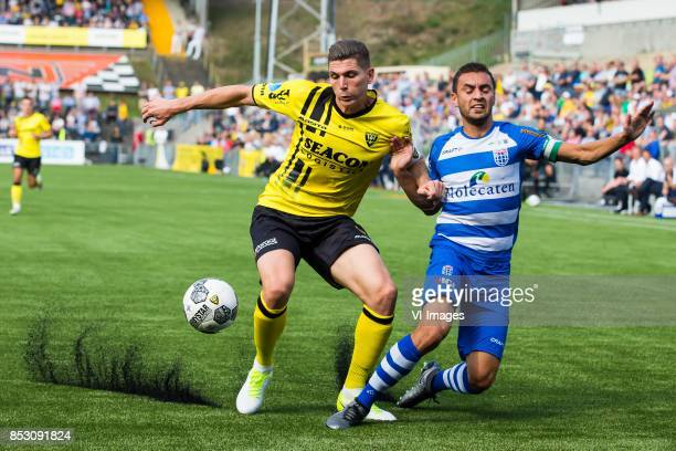 Danny Post of VVV Venlo Bram van Polen of PEC Zwolle during the Dutch Eredivisie match between VVV Venlo and PEC Zwolle at Seacon stadium De Koel on...