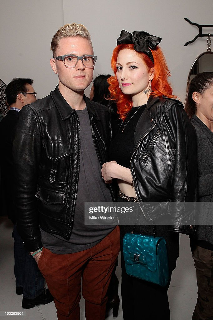 Danny Rishoff and Dominique Pruitt attend the Kathy Taslitz 'Just Visiting' exhibition and reception benefiting P.S. Arts on March 6, 2013 in Los Angeles, California.