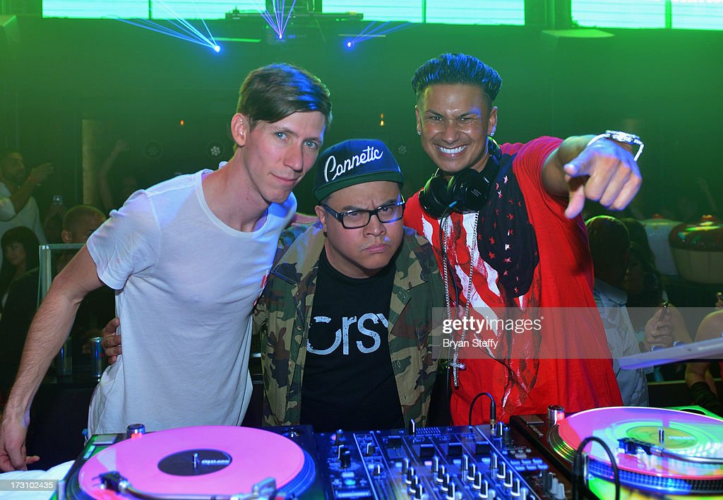DJ Danny Rockz, DJ E-Rock and television personality/DJ Paul 'Pauly D' DelVecchio appear at Haze Nightclub at the Aria Resort & Casino at City Center in celebration of DelVecchio's 33rd birthday on July 6, 2013 in Las Vegas, Nevada.
