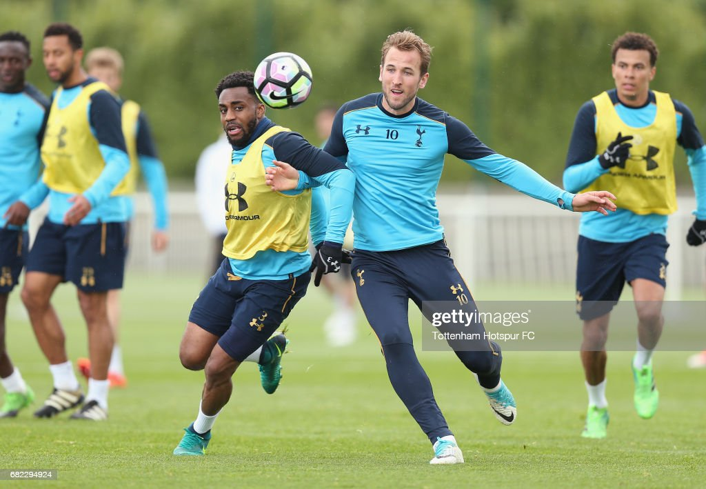 Danny Rose and Harry Kane of Tottenham during the Tottenham Hotspur training session at Tottenham Hotspur Training Centre on May 12, 2017 in Enfield, England.