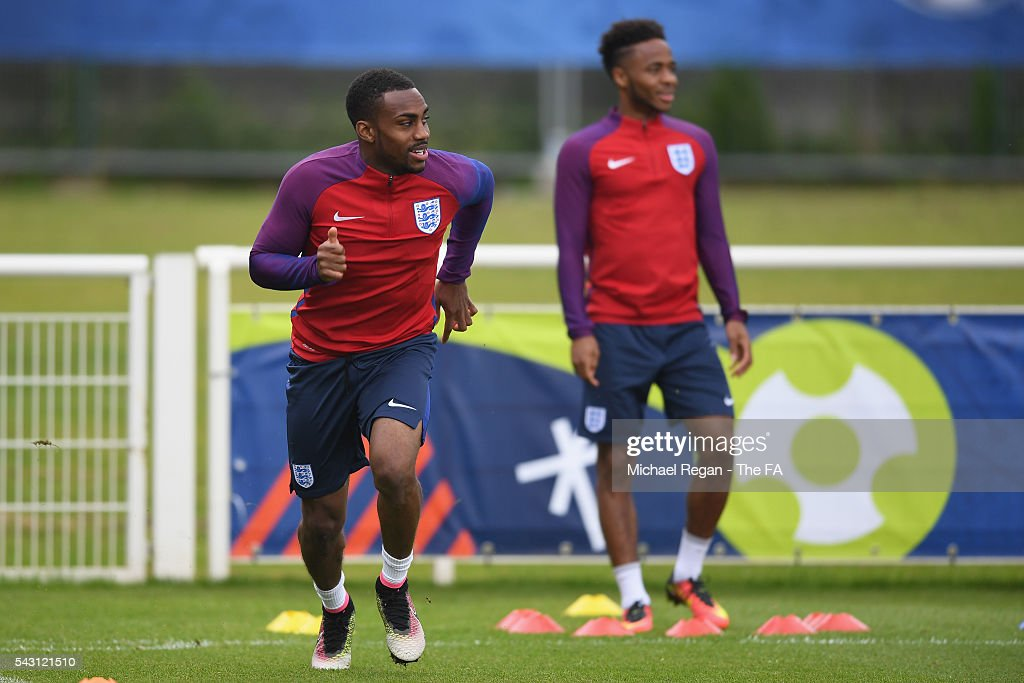 Danny Rose in action during the England training session on June 26, 2016 in Chantilly, France.