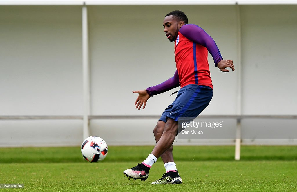Danny Rose of England in action during a training session ahead of the UEFA Euro 2016 match against Iceland at Stade du Bourgognes on June 26, 2016 in Chantilly, France.