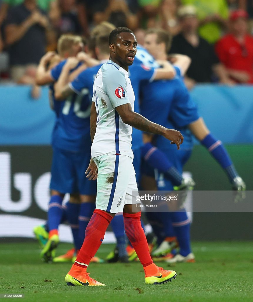 Danny Rose of England reacts after Iceland's second goal during the UEFA EURO 2016 round of 16 match between England and Iceland at Allianz Riviera...