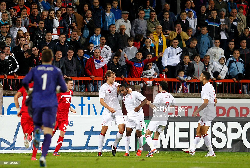 Danny Rose (C) of England reacts after the Under 21 European Championship Play Off second leg match between Serbia U21 and England U21 at Stadium Mladost on October 16, 2012 in Krusevac, Serbia.