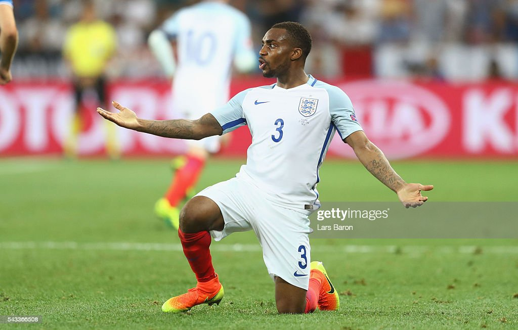 Danny Rose of England reacts during the UEFA EURO 2016 round of 16 match between England and Iceland at Allianz Riviera Stadium on June 27, 2016 in Nice, France.