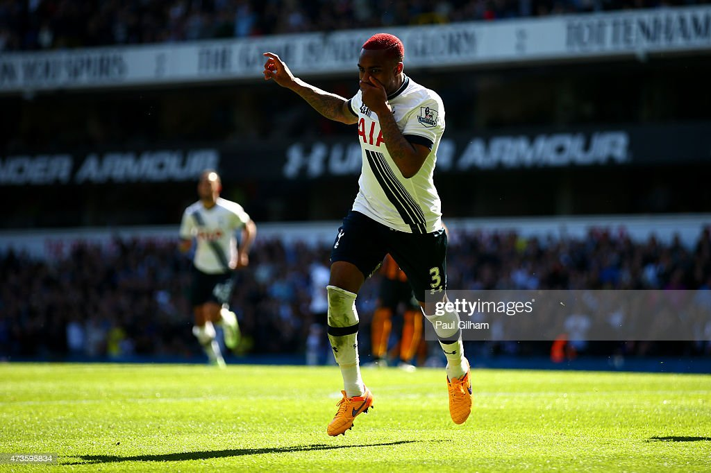 Danny Rose of Spurs celebrates scoring their second goal during the Barclays Premier League match between Tottenham Hotspur and Hull City at White...