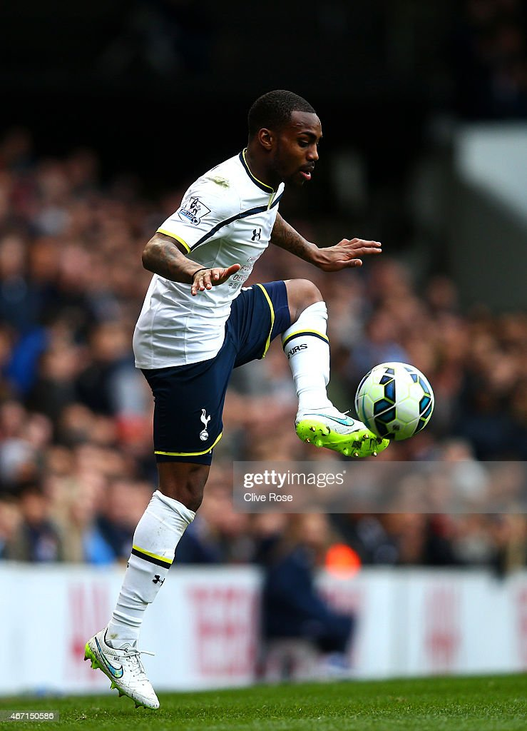 Danny Rose of Spurs controls the ball during the Barclays Premier League match between Tottenham Hotspur and Leicester City at White Hart Lane on...