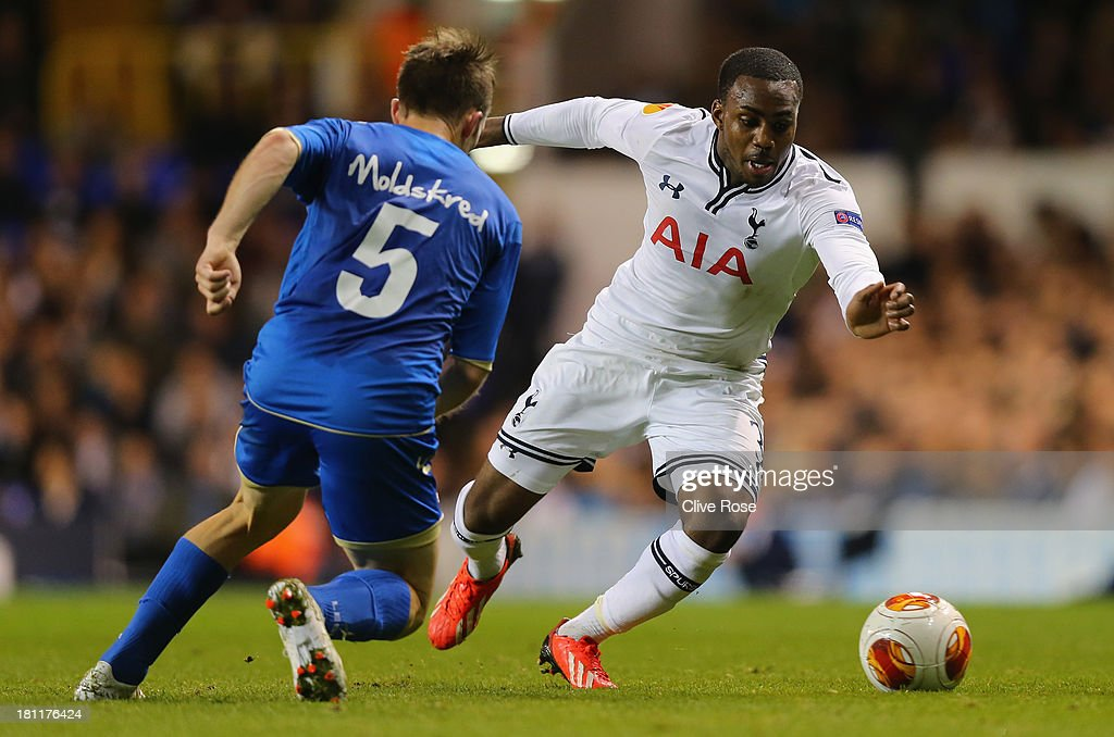 Danny Rose of Spurs goes past Morten Moldskred of Trosmo during the UEFA Europa League Group K match between Tottenham Hotspur FC and Tromso IL at White Hart Lane on September 19, 2013 in London, England.