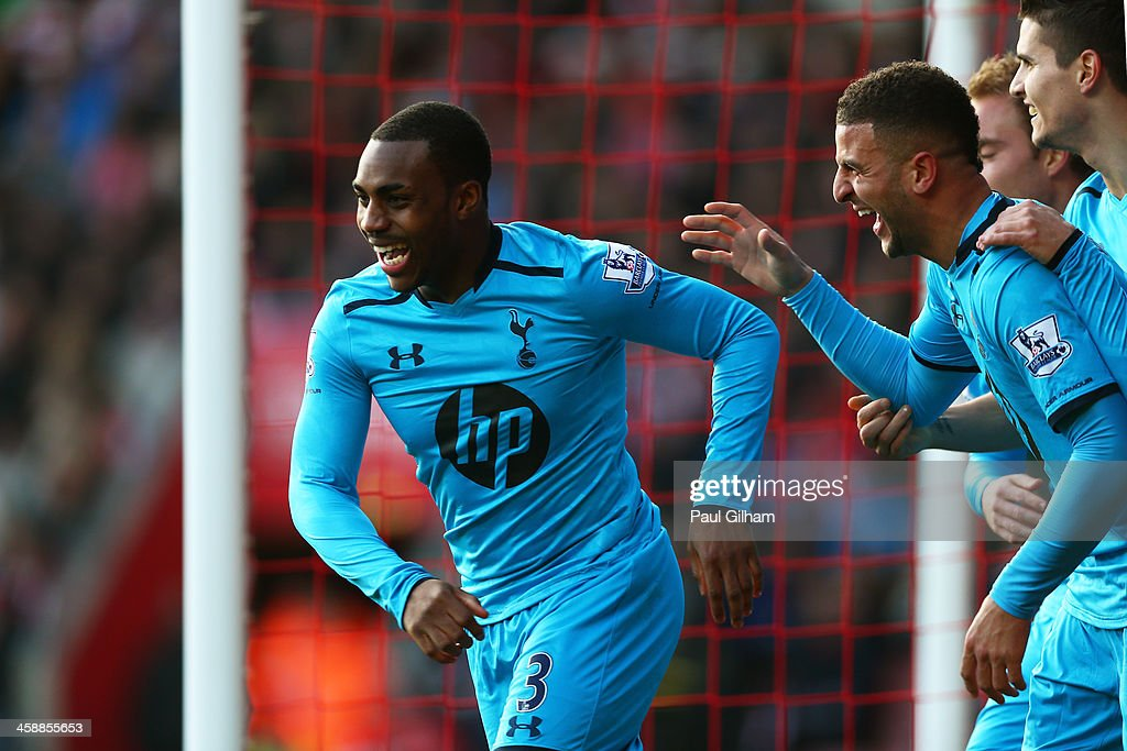 Danny Rose of Spurs is congratulated by teammates after his cross lead to an own goal by Jos Hooiveld of Southampton during the Barclays Premier League match between Southampton and Tottenham Hotspur at St Mary's Stadium on December 22, 2013 in Southampton, England.