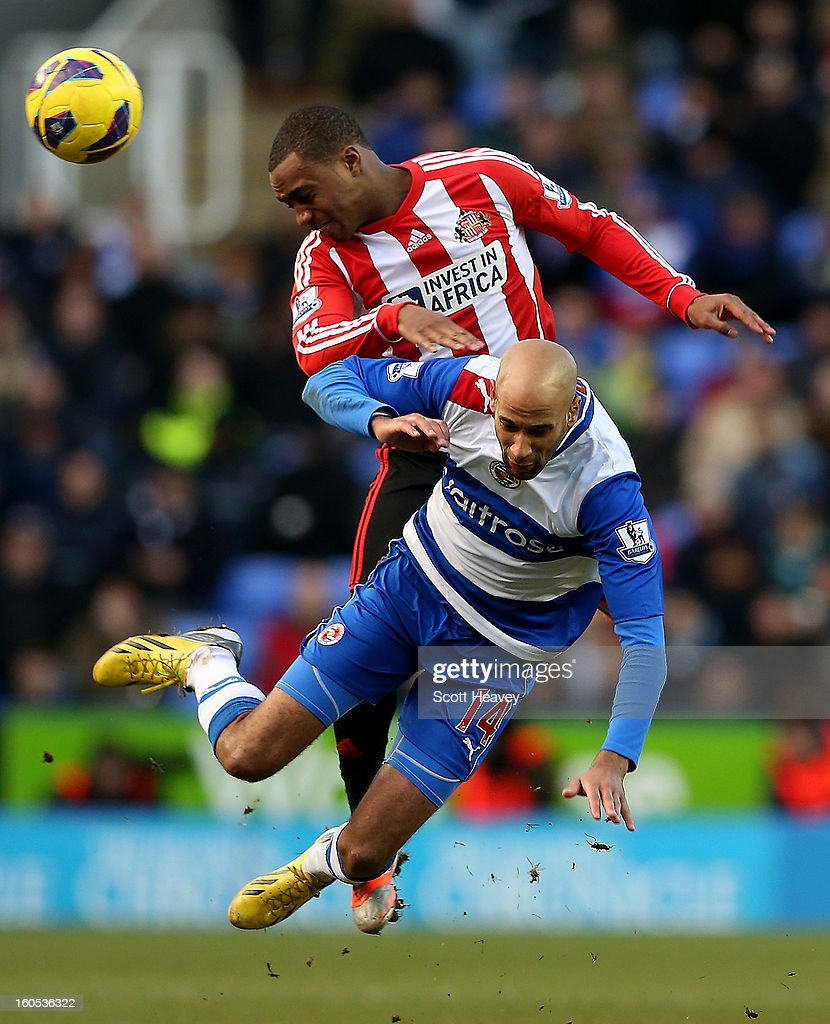 Danny Rose of Sunderland in action with <a gi-track='captionPersonalityLinkClicked' href=/galleries/search?phrase=Jimmy+Kebe&family=editorial&specificpeople=2953929 ng-click='$event.stopPropagation()'>Jimmy Kebe</a> of Reading during the Barclays Premier League match between Reading and Sunderland at Madejski Stadium on February 2, 2013 in Reading, England.