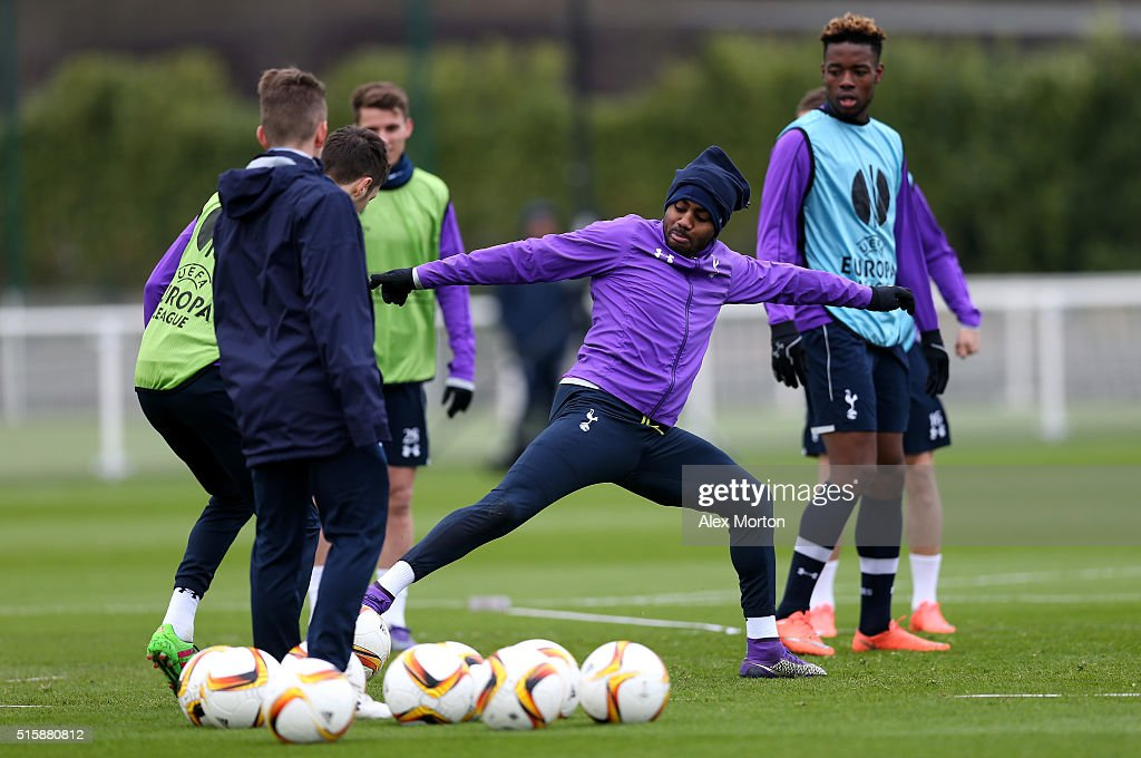 Danny Rose of Tottenham Hotspur in action during a training session ahead of the UEFA Europa League Round of 16, second leg match between Tottenham Hotspur FC and Borussia Dortmund at White Hart Lane on March 16, 2016 in Enfield, England.