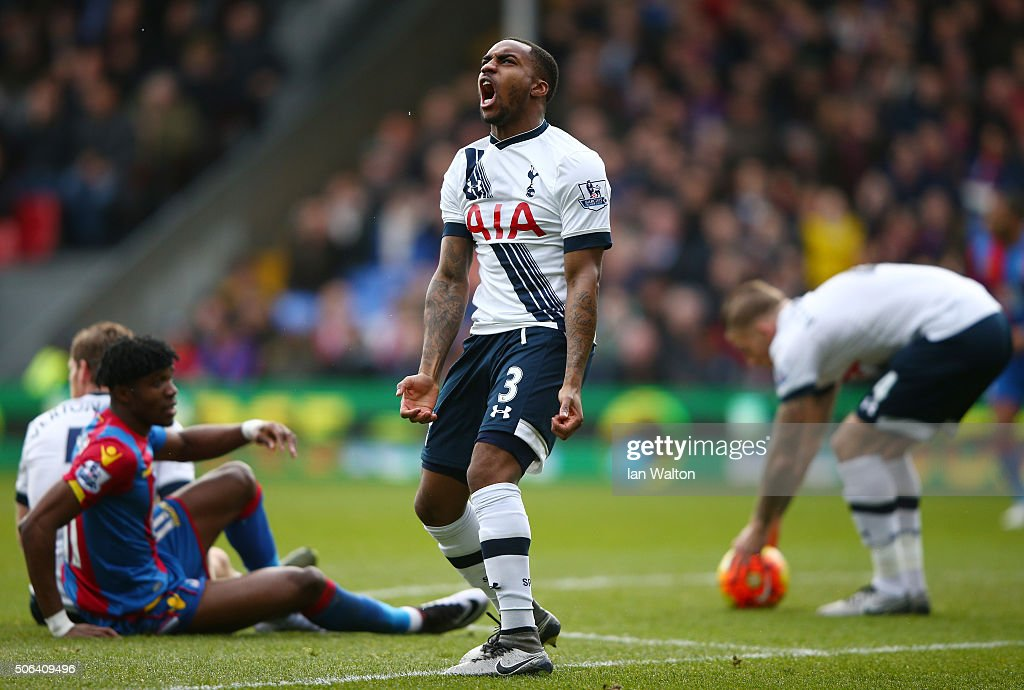 Danny Rose of Tottenham Hotspur reacts during the Barclays Premier League match between Crystal Palace and Tottenham Hotspur at Selhurst Park on...