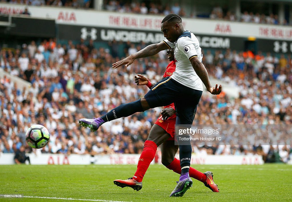 Danny Rose of Tottenham Hotspur scores his sides first goal during the Premier League match between Tottenham Hotspur and Liverpool at White Hart Lane on August 27, 2016 in London, England.
