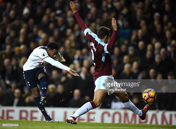 Danny Rose of Tottenham Hotspur scores his sides second goal during the Premier League match between Tottenham Hotspur and Burnley at White Hart Lane...