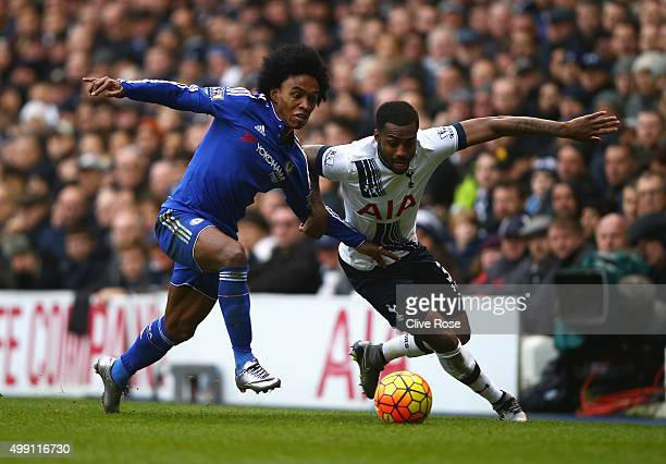 Danny Rose of Tottenham Hotspur takes on Willian of Chelsea during the Barclays Premier League match between Tottenham Hotspur and Chelsea at White...