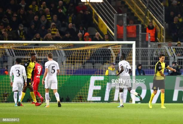 Danny Rose of Tottenham Jan Vertonghen of Tottenham Davinson Sanchez of Tottenham celebrate their team`s second goal and Goalkeeper Roman Buerki of...