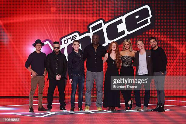 Danny Ross Joel Madden Harrison Craig Seal Celia Pavey Delta Goodrem Luke Kennedy and Ricky Martin pose during 'The Voice' Final Four Photo Call at...