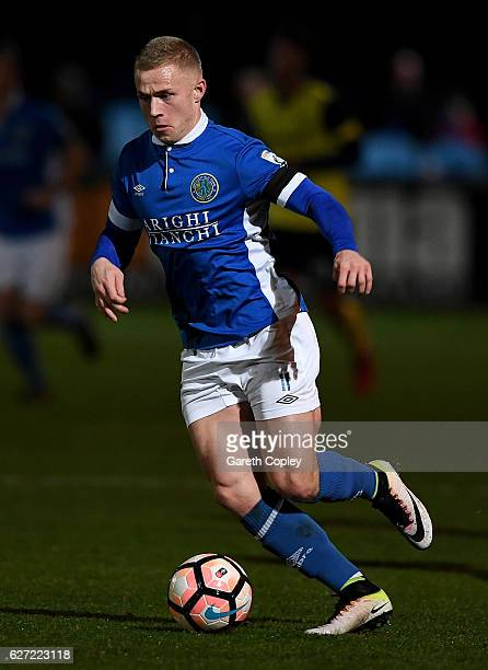 Danny Rowe of Macclesfield Town during The Emirates FA Cup Second Round match between Macclesfield Town and Oxford United at Moss Rose Ground on...