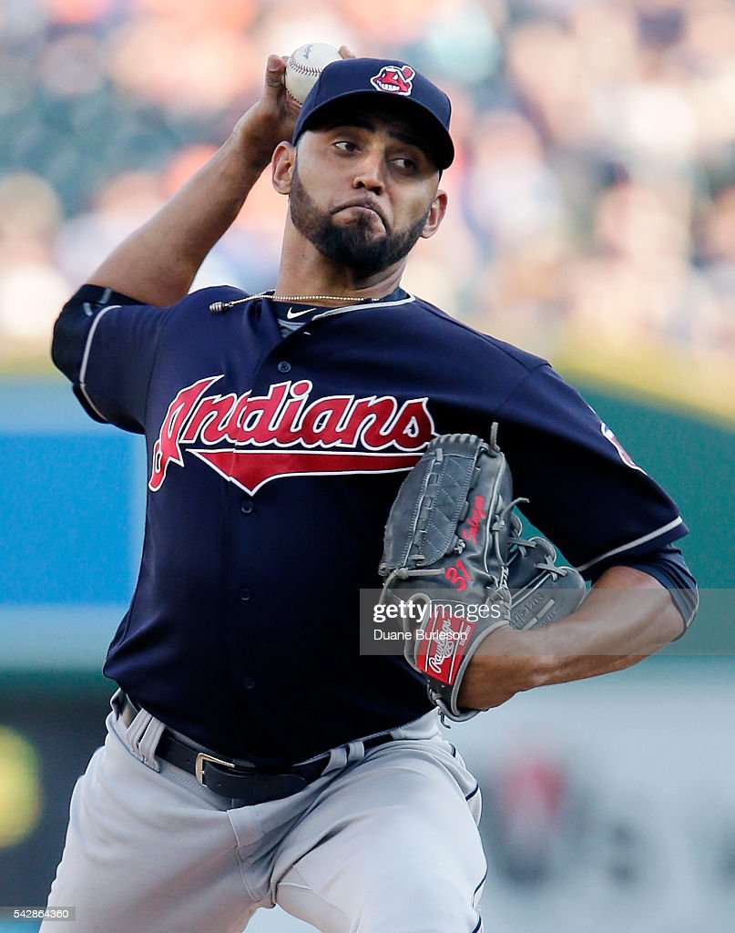 <a gi-track='captionPersonalityLinkClicked' href=/galleries/search?phrase=Danny+Salazar&family=editorial&specificpeople=8953376 ng-click='$event.stopPropagation()'>Danny Salazar</a> #31 of the Cleveland Indians pitches against the Detroit Tigers during the first inning at Comerica Park on June 24, 2016 in Detroit, Michigan.