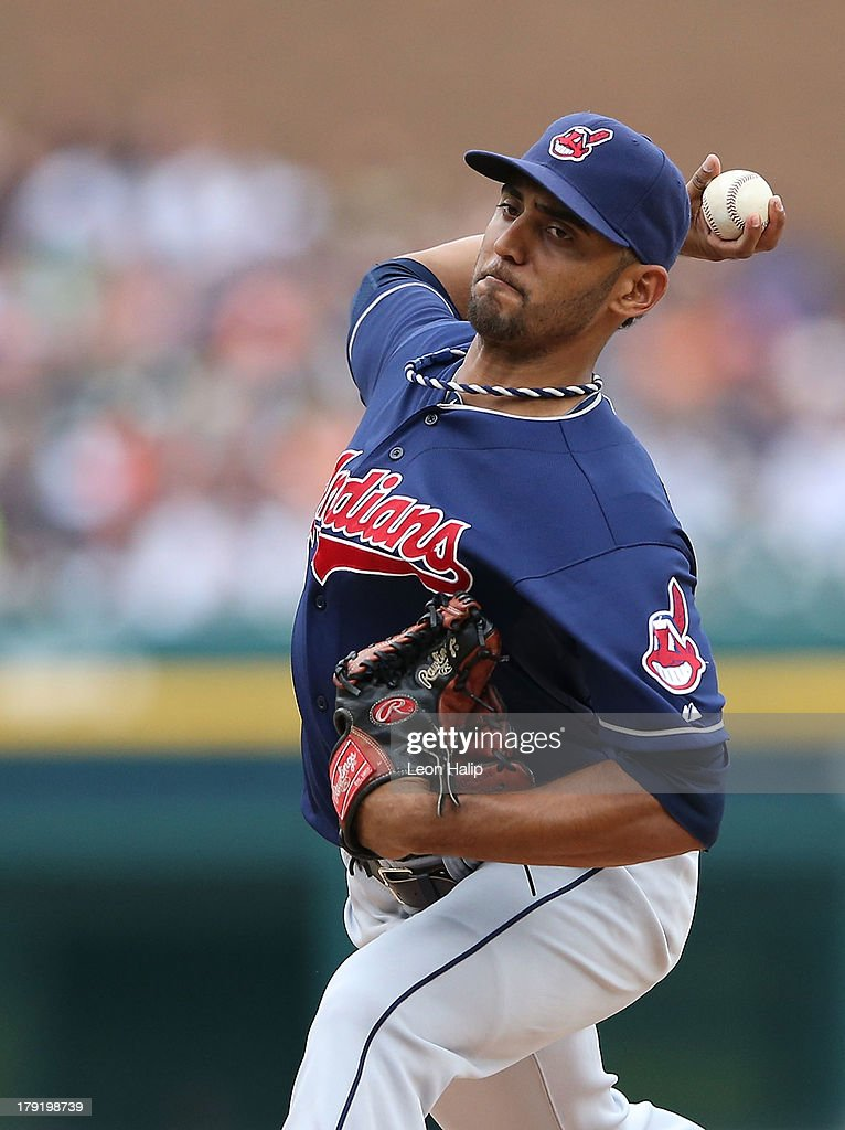 Danny Salazar #31 of the Cleveland Indians pitches in the fourth inning of the game against the Detroit Tigers at Comerica Park on September 1, 2013 in Detroit, Michigan.