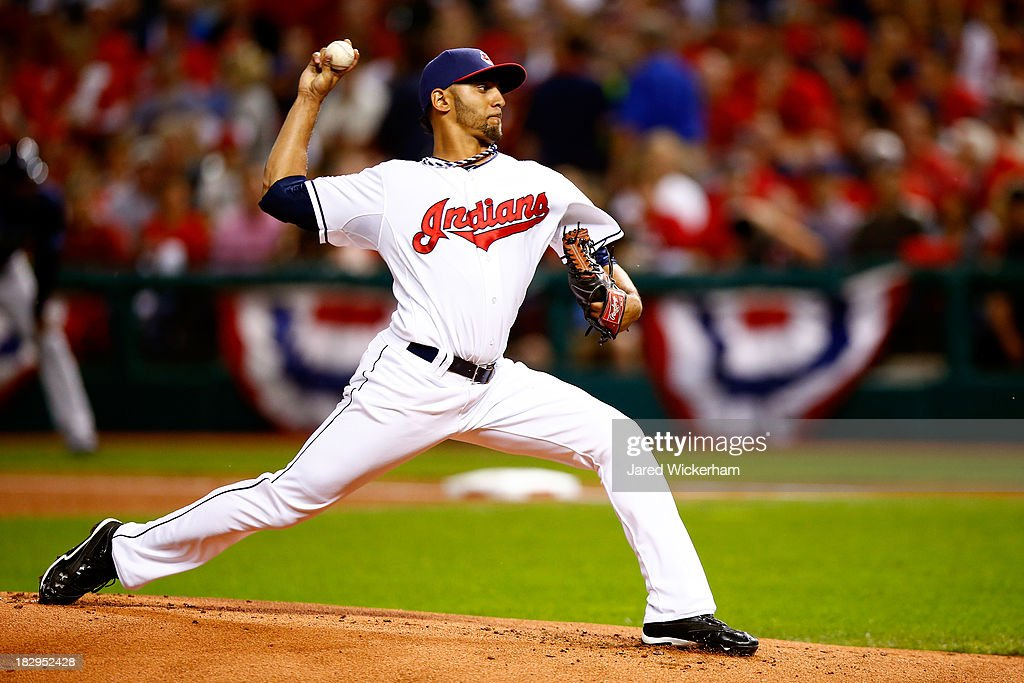 Danny Salazar #31 of the Cleveland Indians throws a pitch in the first inning against the Tampa Bay Rays during the American League Wild Card game at Progressive Field on October 2, 2013 in Cleveland, Ohio.