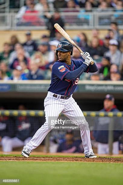 Danny Santana of the Minnesota Twins bats against the Boston Red Sox on May 13 2014 at Target Field in Minneapolis Minnesota The Twins defeated the...