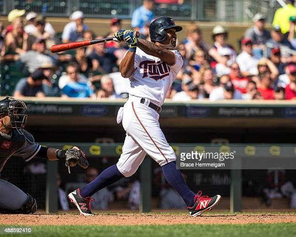 Danny Santana of the Minnesota Twins bats against the Chicago White Sox on September 3 2015 at Target Field in Minneapolis Minnesota The White Sox...