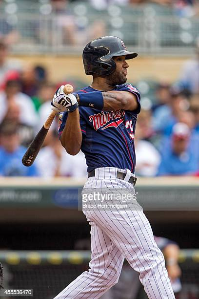 Danny Santana of the Minnesota Twins bats against the Cleveland Indians on August 21 2014 at Target Field in Minneapolis Minnesota The Twins defeated...