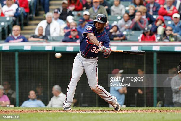 Danny Santana of the Minnesota Twins bats against the Cleveland Indians during the sixth inning of their game on September 11 2014 at Progressive...