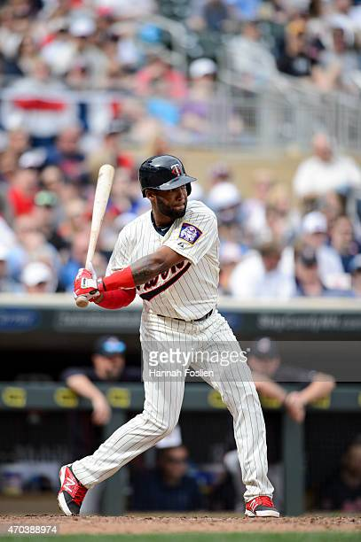 Danny Santana of the Minnesota Twins bats against the Cleveland Indians during the game on April 18 2015 at Target Field in Minneapolis Minnesota The...