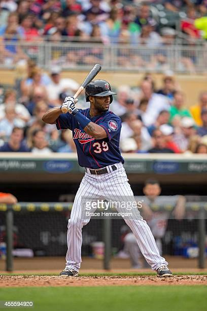 Danny Santana of the Minnesota Twins bats against the Detroit Tigers on August 23 2014 at Target Field in Minneapolis Minnesota The Twins defeated...