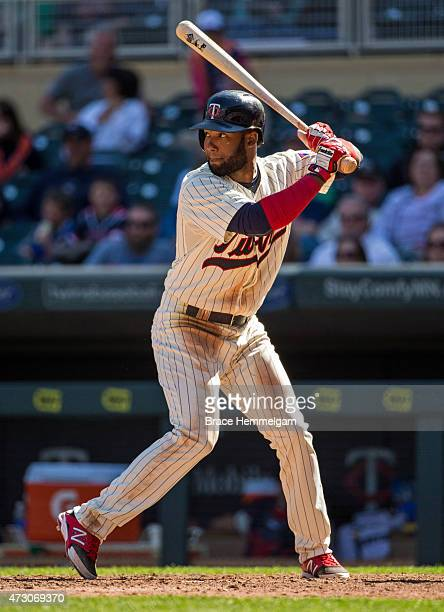 Danny Santana of the Minnesota Twins bats against the Detroit Tigers on April 29 2015 at Target Field in Minneapolis Minnesota The Tigers defeated...