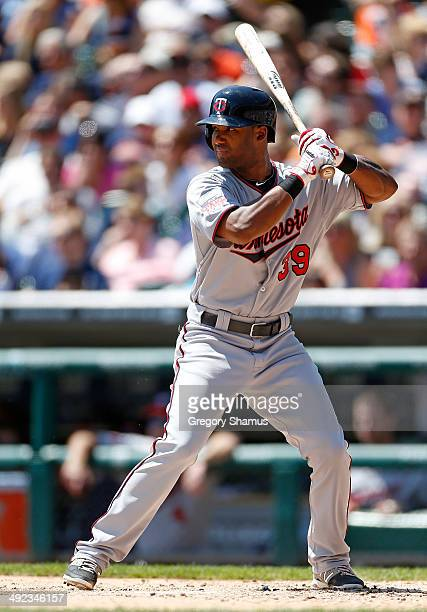 Danny Santana of the Minnesota Twins bats against the Detroit Tigers at Comerica Park on May 10 2014 in Detroit Michigan