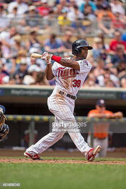 Danny Santana of the Minnesota Twins bats against the Houston Astros on June 8 2014 at Target Field in Minneapolis Minnesota The Astros defeated the...