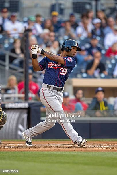Danny Santana of the Minnesota Twins bats against the San Diego Padres on May 21 2014 at Petco Park in San Diego California The Twins defeated the...