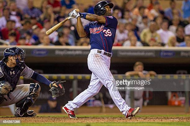 Danny Santana of the Minnesota Twins bats against the San Diego Padres on August 5 2014 at Target Field in Minneapolis Minnesota The Twins defeated...