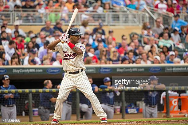 Danny Santana of the Minnesota Twins bats against the Tampa Bay Rays on July 19 2014 at Target Field in Minneapolis Minnesota The Rays defeated the...