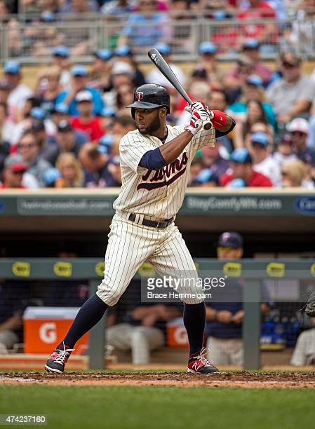 Danny Santana of the Minnesota Twins bats against the Tampa Bay Rays on May 16 2015 at Target Field in Minneapolis Minnesota The Twins defeated the...
