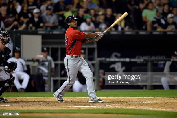Danny Santana of the Minnesota Twins bats during the sixth inning against the Chicago White Sox at US Cellular Field on August 1 2014 in Chicago...