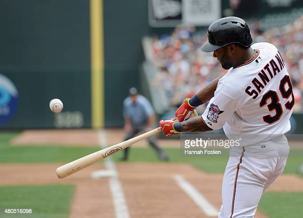 Danny Santana of the Minnesota Twins hits a tworun double against the Detroit Tigers during the fourth inning of the game on July 12 2015 at Target...
