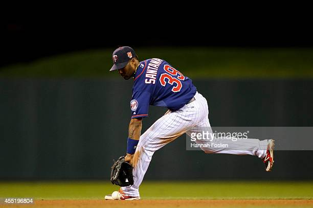Danny Santana of the Minnesota Twins makes a play at shortstop against the Los Angeles Angels of Anaheim during the game on September 5 2014 at...