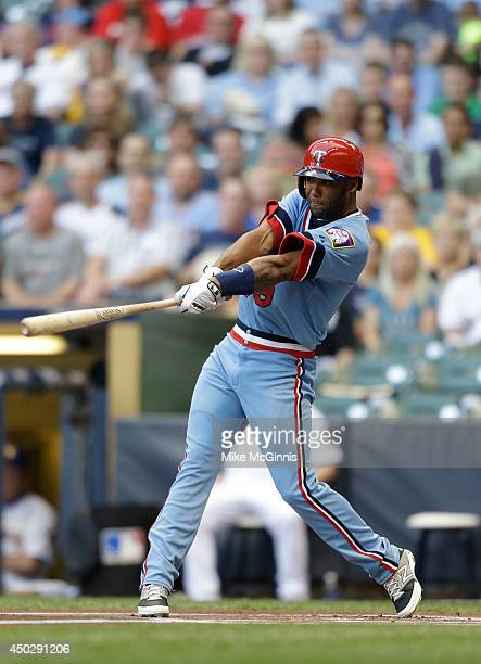 Danny Santana of the Minnesota Twins makes some contact at the plate during the Interleague game against the Milwaukee Brewers at Miller Park on June...