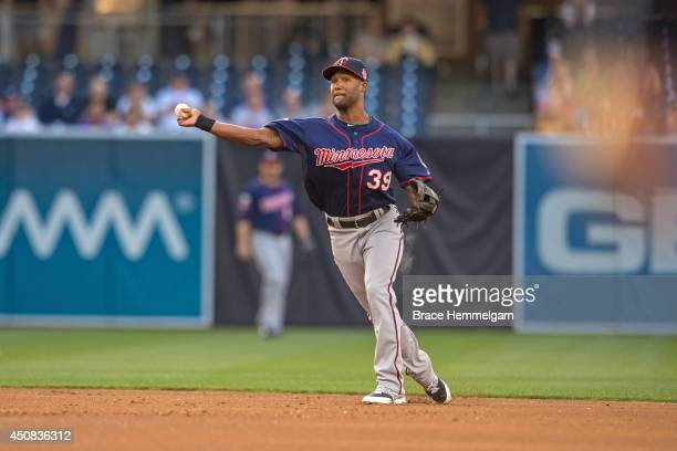 Danny Santana of the Minnesota Twins throws against the San Diego Padres on May 21 2014 at Petco Park in San Diego California The Twins defeated the...