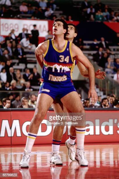 Danny Schayes of the Denver Nuggets waits for a rebound during the 1989 McDonald's Open circa 1989 in Rome Italy NOTE TO USER User expressly...